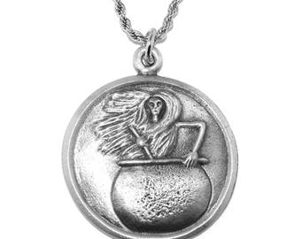 Baba Yaga Pagan Wiccan Pewter Pendant (The Wise old Crone of Autumn) Necklace