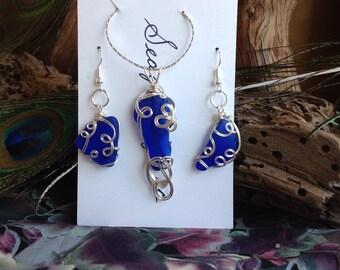 Sea Glass Jewelry Set - Cobalt Blue SEA GLASS - SeaGlass Necklce and Earrings Set