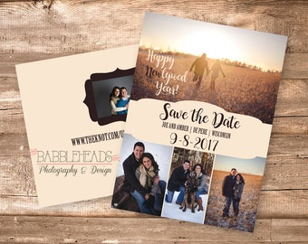 Happy Newlywed Year New Year January Christmas Holiday Rustic 5 Photo Save the Date