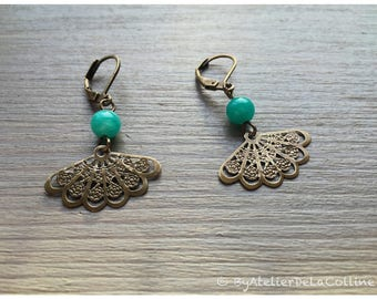 Art deco earrings with textured fan and jade bead