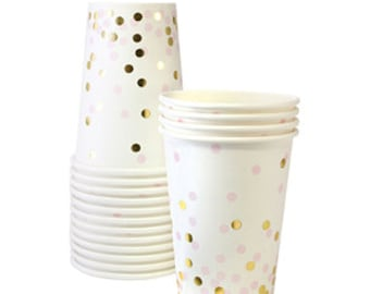 Pink and Gold Confetti Cups / Pink and Gold Cup / Confetti Cup