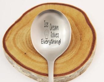 Ice Cream Solves Everything, Custom Silverware, Personalized Silverware, Funny Spoon, Ice Cream Spoon