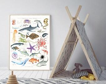 Ocean Alphabet Poster, nursery wall art, art print, sea life alphabet, ocean watercolours, educational, kids room decor, nautical kids room