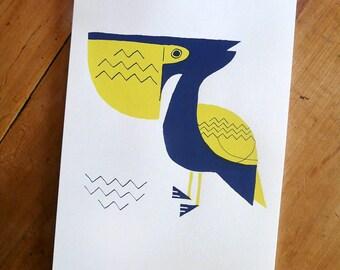 Poster PELICAN | Print / Art Print / Wall Art / Silkscreen Print / A4 size | MERMADE