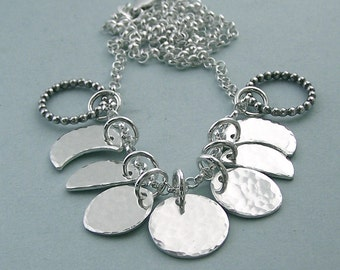 Lunar Cycle - Phases of the Moon Sterling Silver Necklace