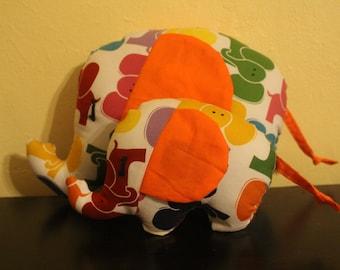 Multicolored elephant print stuffed elephant/nursery decor