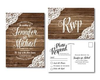Rustic Wedding Invitation & RSVP Postcard Set Lace Wedding Invitations Country Chic Rustic Lace Fall Wedding Printed Wedding Set #CL150
