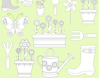 Garden Digi Stamps, Garden Clipart, Spring Clipart, Digital Stamps, Black and White Lines, Printable, Commercial Use