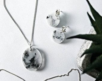 Marbled Drop Stud Handmade Resin Earrings