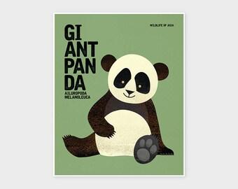 GIANT PANDA, Wildlife of Asia, Nursery Animal Wall Art, Nursery Print, Kids Poster, Retro Poster
