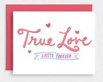Funny Valentine Card for Him - Awkward Love Card, Valentine Card, Love Card, Hand Lettered Card - True Love Lasts Forever, No Pressure