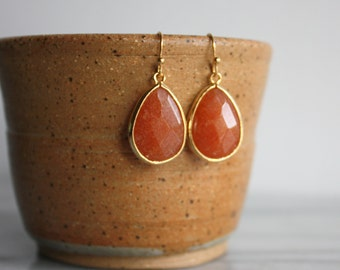 Amber Teardrop Earrings, Dangle, Gift for Her, by ktnunna