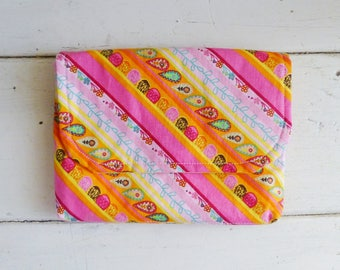 Fabric Wallet, women's wallet, women's gift idea, snap closure, ready to ship, pink striped wallet, floral print, cute accessory