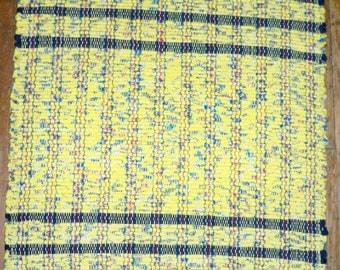 Handwoven Rag Rug - Yellow Multi w/ Navy End Stripes - Inv. ID #02-0381