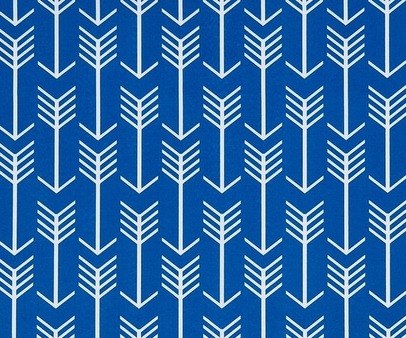 Royal Blue Arrow Fabric by the Yard Designer Indoor Outdoor Fabric ...