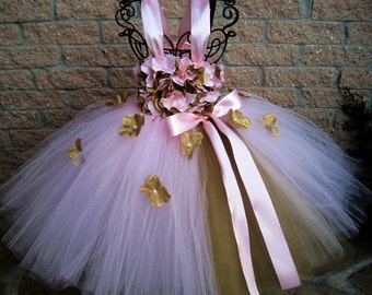 PINK GOLD FLOWERS - Tutu Dress - Flower Girl Gown - Pageant Baby Wear - First Birthday Tutu - Photo Shoot Dress - Girls' Pink Tutu Dress -
