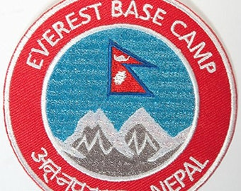 Mount Everest Base Camp Nepal Embroidered Iron-on Patch Mountain Climbing Trekking Travel Badge Applique Souvenir Collectible mountaineering