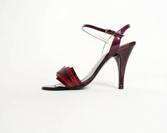 Vintage 1970s Heels - Grape Purple and Maroon Red Art Deco Style Design Stiletto Heels - Ankle Strap - Disco Heels - 70s - Size 6 1/2