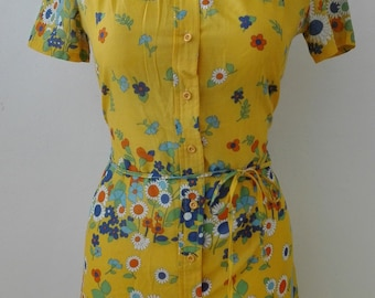 Yellow Tropical Floral Summer Dress size 42