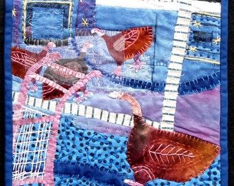 """Textile art. Quilt art hangingFiber art wall hanging. Four Guinea Fowl at Walmart  10""""x10"""""""