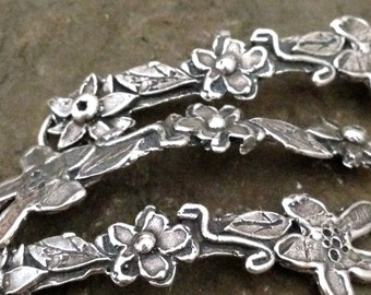 Artisan Flower Bracelet Link - Rustic Flowers in a Row -  Handcrafted Sterling Silver Connector- 54mm  1 SS Link AC177