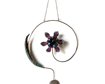 Purple Blue Red Wall Hanging Metal Flower with  Leaf Ornament Hand Made Painted, Recycled Materials, Drilled Stone and Lots of Joy PAO-10131