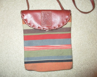 Vintage Boots N Bags canvas leather trim crossbody bag