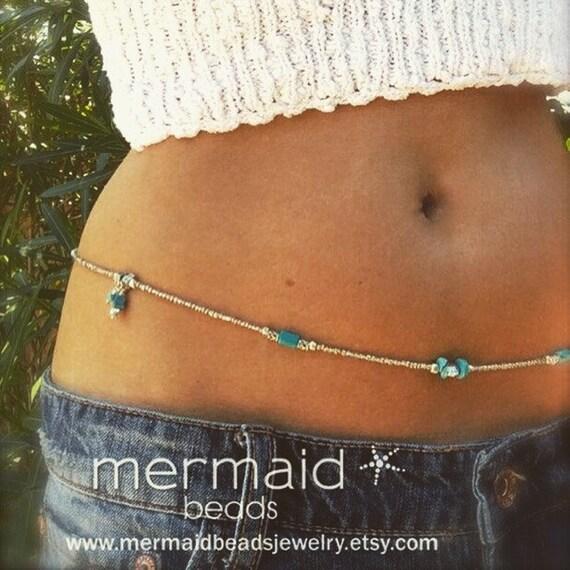 Waist Beads Turquoise Belly Chain Silver Adjustable Body Jewelry Boho Bikini Beach Beaded Stretch Anklet Wrap Bracelet Beaded Necklace Gifts