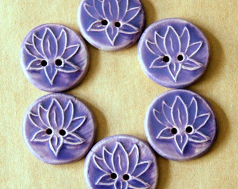 6  Handmade Ceramic Buttons - Light and Sweet Lavender Lotus Buttons - Focal Stoneware Buttons - Knitting Supplies - Button Bracelet