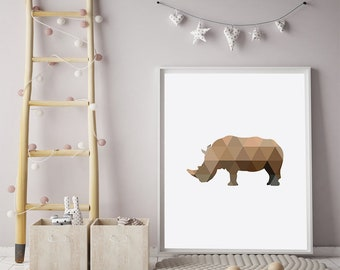 Rhinoceros Print, African Animal, Geometric Wall Decor, Nursery Printable, Digital Download, Large Wall Art, Rhino Poster, Safari Wall Decor