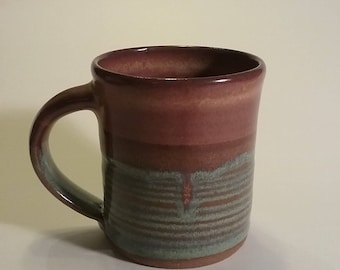 Handmade pottery stoneware coffee mug 10oz brown rutile blue by David Stellman Pottery