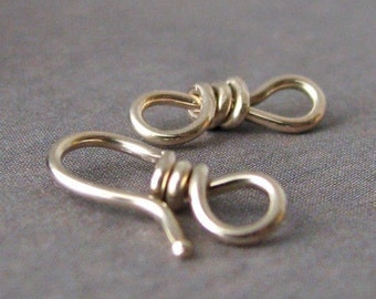 Handmade Clasp, Small 14k Gold Filled Hook and Eye 20g (OWC)