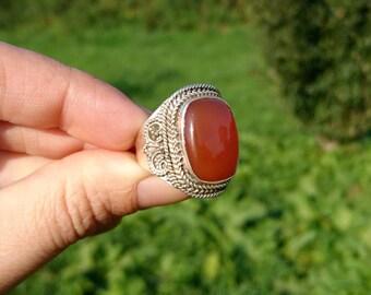 Indian Silver carnelian ring