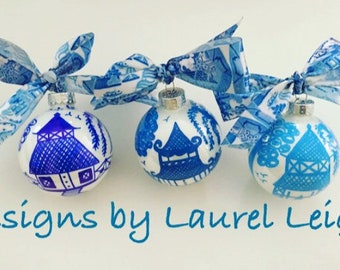 Chinoiserie Ornament   Blue and White, Pagoda, Hostess, Holiday, Christmas, Housewarming, Gift, Blue Willow