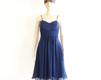 Navy Blue Bridesmaid Dress. Navy Blue Evening Dress. Chiffon Party Dress. Knee Length Dress.