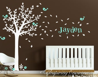 Wall Tree Decal with Blossoms and Birds Wall Stickers - Name Personalized Wall Decal - WAL-2104B