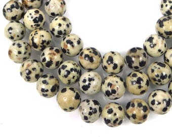 8mm Natural Dalmatian Jasper Round Mala Beads Full Strand (e8004)