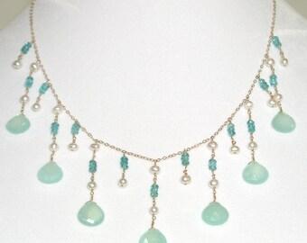Aqua Chalcedony Briolette Necklace - item #1310