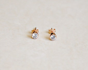 Rose gold diamond stud earrings, solitaire, pink gold, 4mm or 6mm, cz cubic zirconia, minimal, simple, classic jewelry, womens gift, Marley