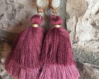 Three Tier Tassel Earrings, Oversized Tassel Earrings, Pink Tassel Earrings, Tassel Fringe Earrings, Boho Earrings