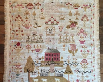 STACY NASH Mary Barres Reproduction Sampler counted cross stitch patterns at thecottageneedle.com 2018 Nashville Market