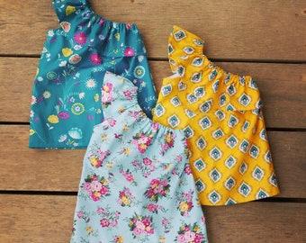 Girls boho Dress, one shoulder dress, Asymmetrical Dress, bohemian, mustard, floral, blue shabby chic, folk dress, teal dress, baby girls