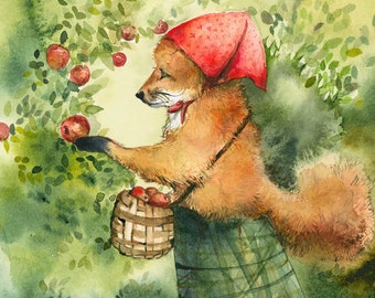 "whimsical animal art, Children's room, decor, kids, nursery- ""Greta, picking apples""- Fox art, fox watercolor"