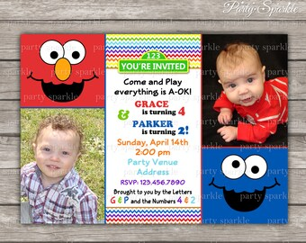 Elmo and Cookie Monster Twins Birthday Invite - Dual Party - Personalized Digital Printable Photo Invitation 4x6 or 5x7 jpg or pdf