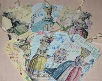 Marie Antoinette of Versailles Vintage GiftTags with Seam Binding Paris Set of 6