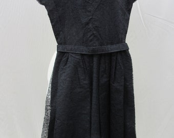 1940s- 1950s black lace dress pleated cap sleeve, belted, front pleated skirt detail, ruched at bust