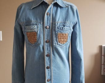 1970s Light Washed Denim Shirt with Woven Leather Details