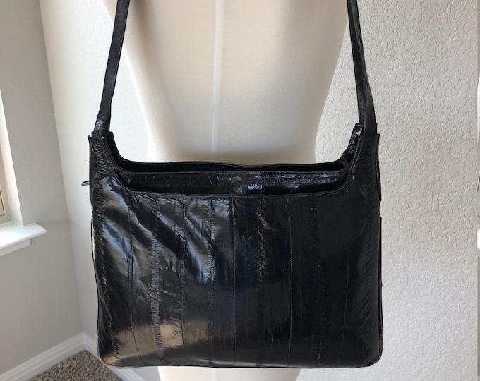 Vintage Deep Blue-Black Genuine Eel Skin Shoulder Bag, Three Section Design, Interior Zip Pocket