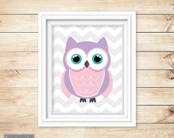 Owl Nursery Wall Art Pink Purple Girl's Room Decor ABC's Printable One 11x14 Digital JPG Instant Download- 54