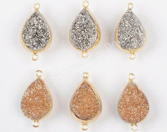 Wholesale Pear Shape Gold Plated Double Side Titanium Geode Quartz Druzy Station Connector Natural Agate Drusy Bead Gemstone Findings G1088